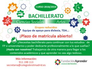Bachillerato Arte y Ciencias Sociales. Plazo matrícula abierto curso 2018/2019. Grupos reducidos. Equipo de apoyo para dislexia, TDA...