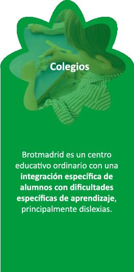 Brotmadrid es un centro educativo ordinario, concertado, con una integración específica de alumnos con dificultades específicas de aprendizaje, principalmente dislexia.